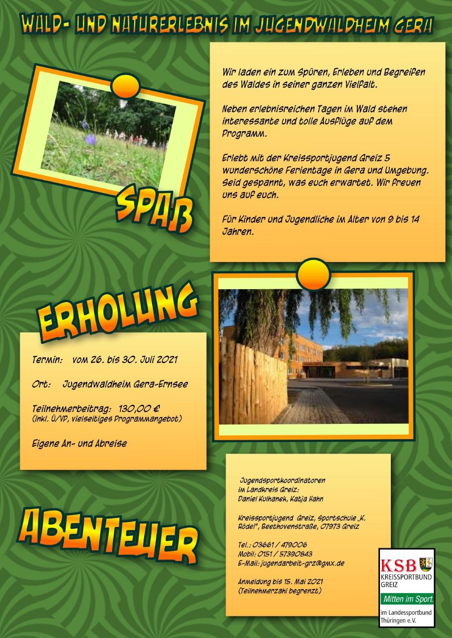 Ausschreibung Sommerferien Gera 2021