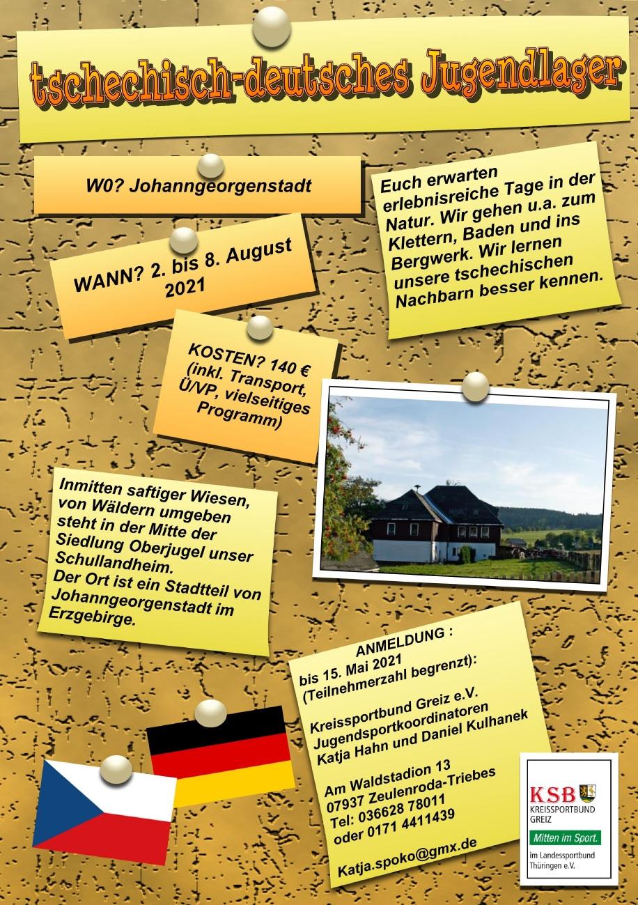 Ausschreibung Sommerferien Johanngeorgenstadt 2021